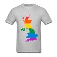 Rainbow UK Flag 2017 Fashion Summer Mens Shirt Newest Tee Shirts Round Collar Short Sleeve Men t shirt