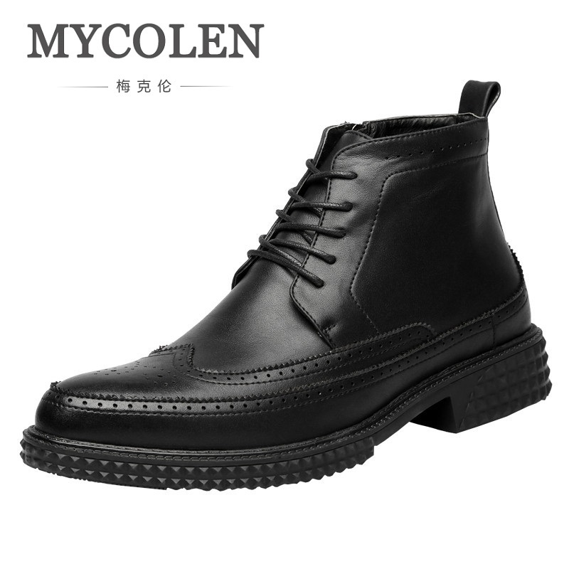 MYCOLEN 2018 весна/осень военные ботинки дизайнерские ботинки мужчины высокое качество замшевые короткие ботильоны роскошный кожаный военный бот