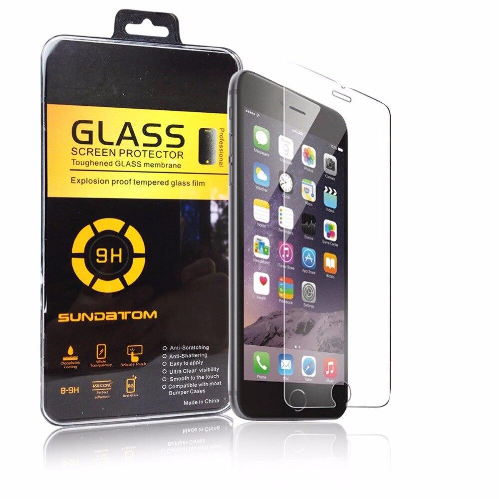 imágenes para 100 unids sundatom wholesale 0.2mm templado superior de cristal protector de pantalla para iphone 5 6 6 s plus película a prueba de explosiones