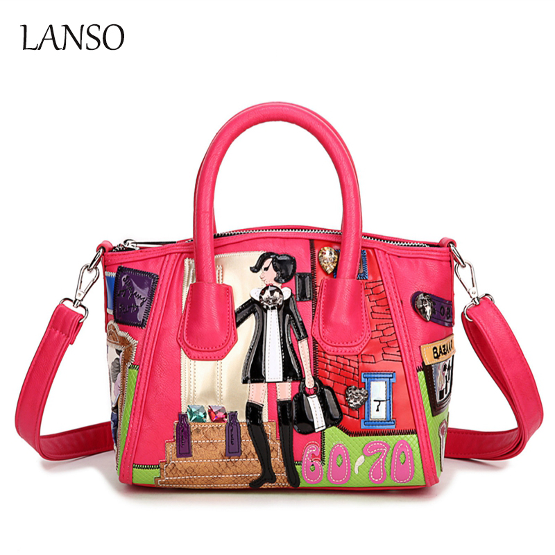 ФОТО New Arrived Fashion Women Handbags Retro Embroidery Shoulder Bags Pu Leather Character Hobos Bags Tote Bags Girls Leisure Bags