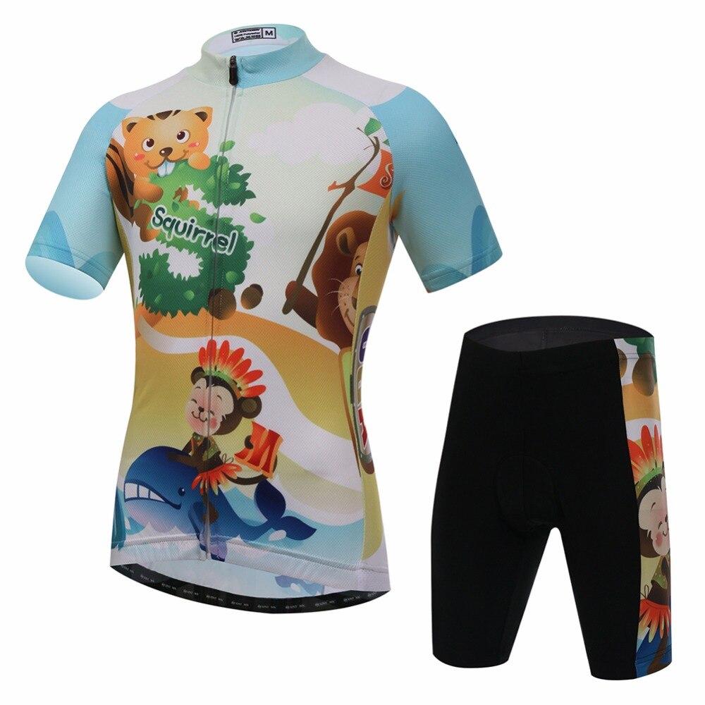 Amur Leopard Cartoon Cycling Jersey Set Short Sleeve for Girls and Boys Bike Clothing Kids Jersey with Shorts полотенцесушитель milardo amur amusm10m49