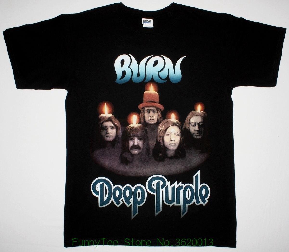 Deep Purple Burn Black T Shirt Coverdale Jon Lord Rainbow Blackmore Hard Rock