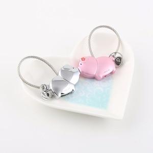 Image 2 - Milesi cute kiss Pig couple keychain for lover christmas gift women key holder chain keyring fashion souvenir pendant k0176
