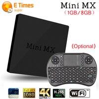 新加入ミニmxアンドロイドtvボックス1グラム8グラムamlogic s905クアッドコアh.265デコード2.4グラム/5.8グラムデュアルバンド無線lan 4 kプレーヤーキーボード(オプション)