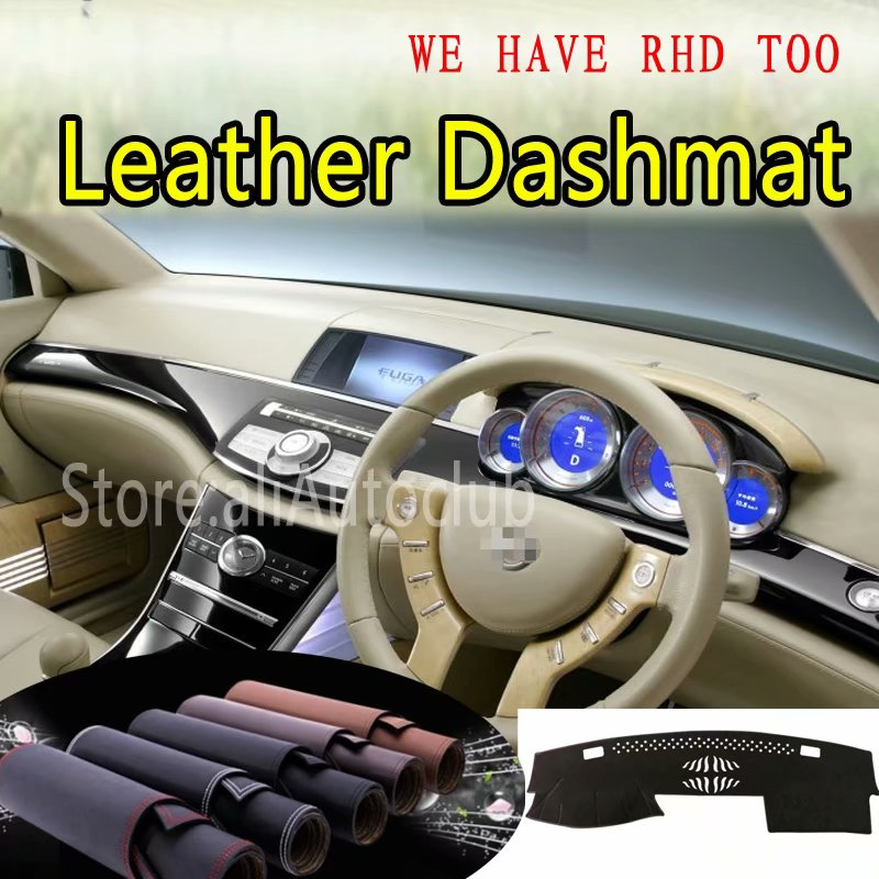 For Nissan Fuga Y50 Infiniti M35 M45 2004 2005 2006 2009 Leather Dashmat Dashboard Cover Dash Carpet Custom Car Styling LHD+RHD