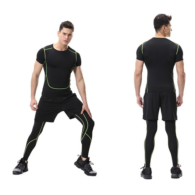 1c0025c7d18ee 2017 New Men's Running Tights Compression Sport Leggings Fitness Gym  Sportswear Yoga Training Pants for Men Cropped Trousers
