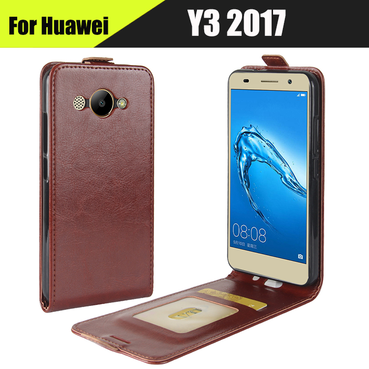 EiiMoo Leather Vertical Flip Case Cover For Huawei Y3 2017 Case CRO-U00 CRO-L02 CRO-L22 Silicone Card Slot Phone Bags Back Cover