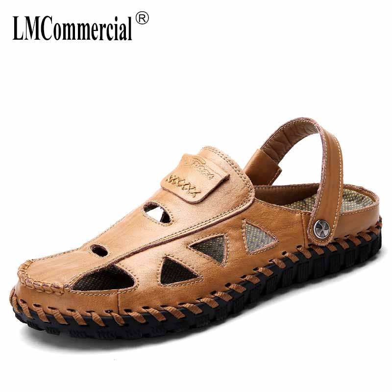 2018 summer new leather mens casual beach shoes sandals Sneakers Men Slippers Flip Flops casual Shoes beach outdoor anti-skid
