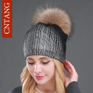Image 2 - 2020 New Winter Beanies Ladies Knitted Wool Warm Hats Fashion Pom Pom Real Raccoon Fur Caps Skullies Hat For Women Print Fur Cap