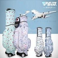 Pgm Golf Travel Bag For Women Wheels Stand Caddy Airbag Flight Aviation Bags Waterproof High Capacity Golf Cart Bag D0476