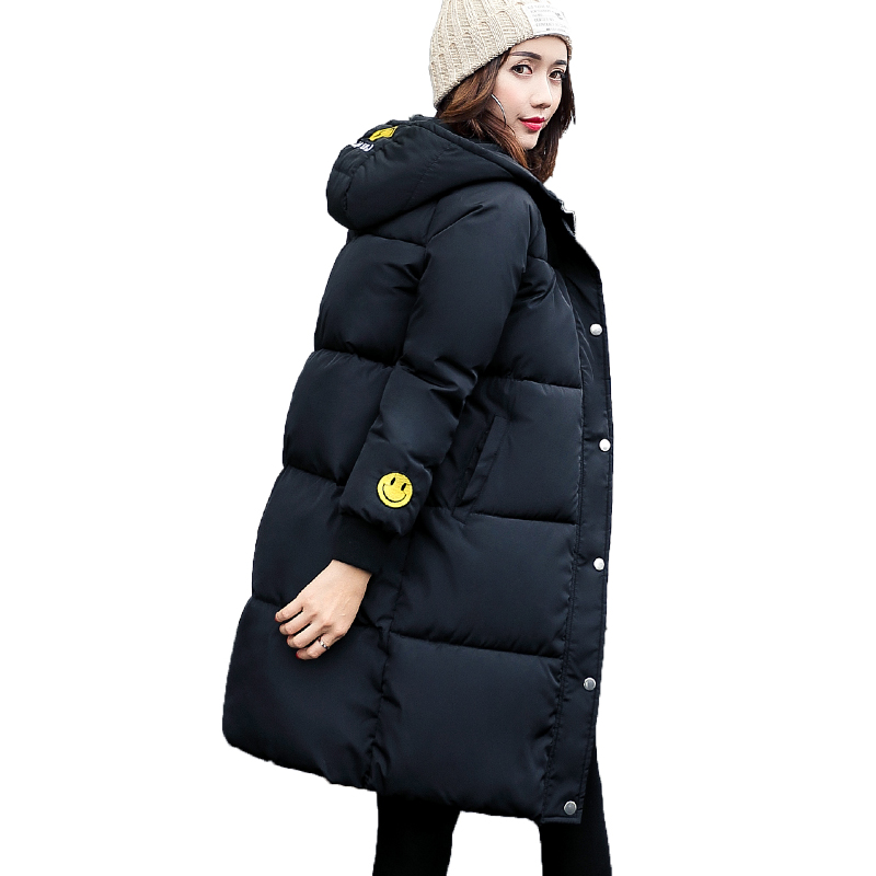 Winter Wadded Jacket Women Thick Warm Hooded Long Cotton-padded Jacket Parka Slim Winter Coat 2017 New Plus Size 2XL 4L07 starry pattern gold plated alloy rhinestone stud earrings for women pink pair
