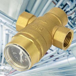 Image 1 - Válvula de alívio de pressão, válvula reguladora de 1/2 polegadas de bronze para redução de pressão de água com medidor de calibre, ajustável, fluxo de água