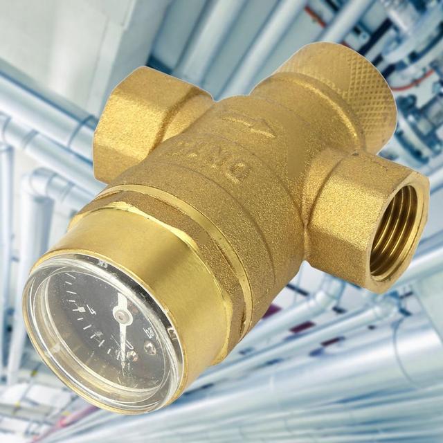 Válvula de alívio de pressão, válvula reguladora de 1/2 polegadas de bronze para redução de pressão de água com medidor de calibre, ajustável, fluxo de água