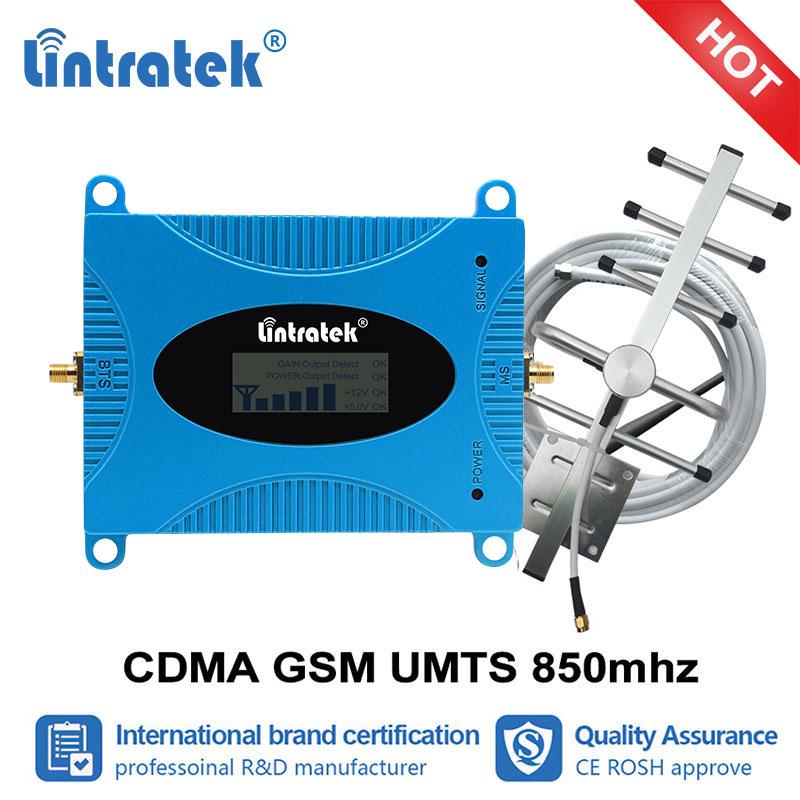 Lintratek GSM 850 UMTS CDMA Telefone Móvel LTE 850mhz Celular Signal Booster Amplificador 4 3 2g g g repetidor celular Repetidor Set #6