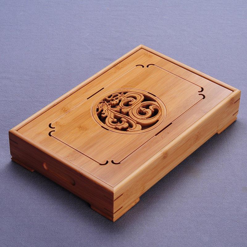 China Dragon & Phoenix Bamboo Kungfu Tea Ceremony Table Tabletop Serving Tray Kung Fu Tea Tray Water Storage Type