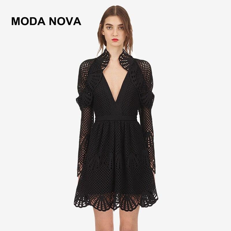 6a41cb7d9ea3 MODA NOVA autorretrato pasarela vestido de mujer Sexy cuello en V volantes  manga larga negro encaje ...