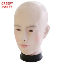 Realistic Female Mask For Halloween Human Female Masquerade Latex Party Mask Sexy Girl Crossdress Costume Cosplay Mask(China)