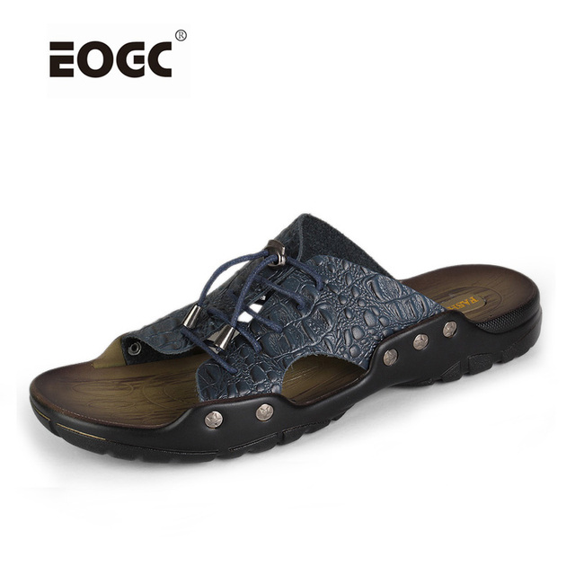 men sandals Crocodile pattern leather summer shoes brand men beach shoes slippers for men