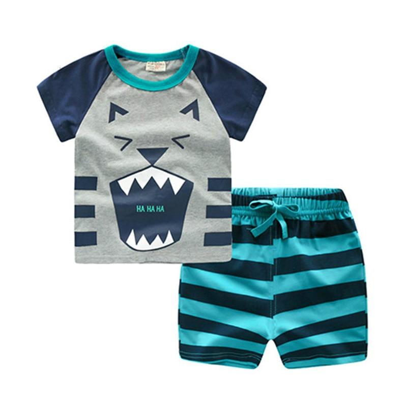 Baby Boy Sets Summer Clothes Cartoon Tiger Bear Fox Dog ...
