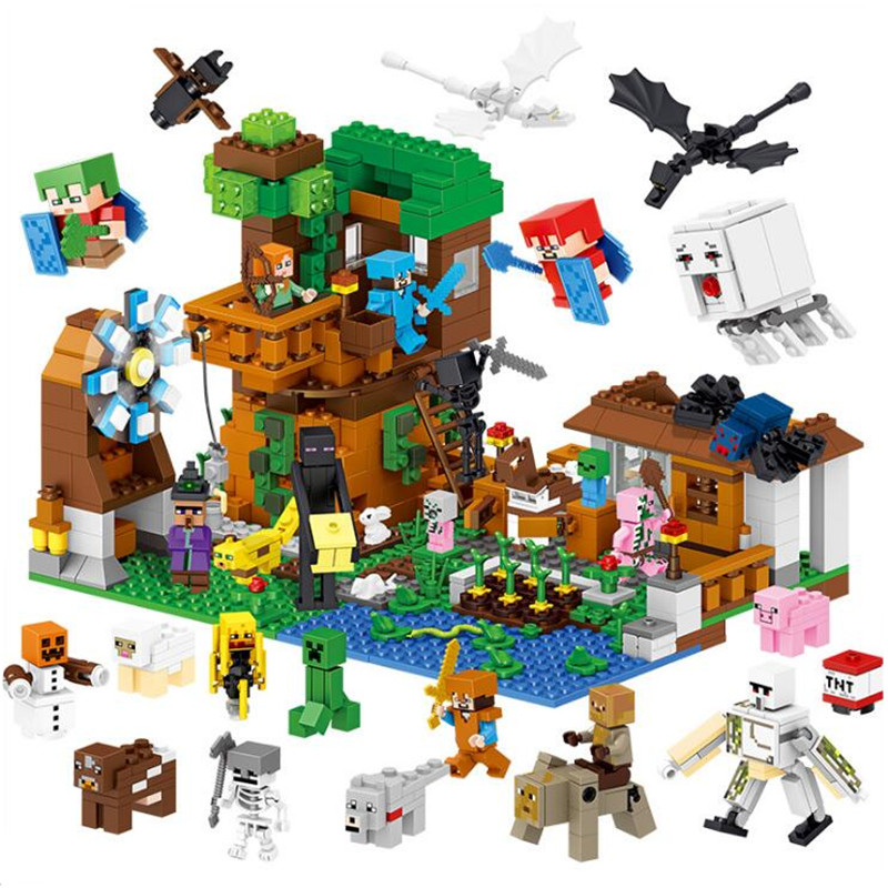 Christmas Minecraft World.New Legoings 1007pcs Minecraft Pet Village My World Diy Model Building Blocks Kit Kids Education Toys Christmas Birthday Gifts In Model Building Kits