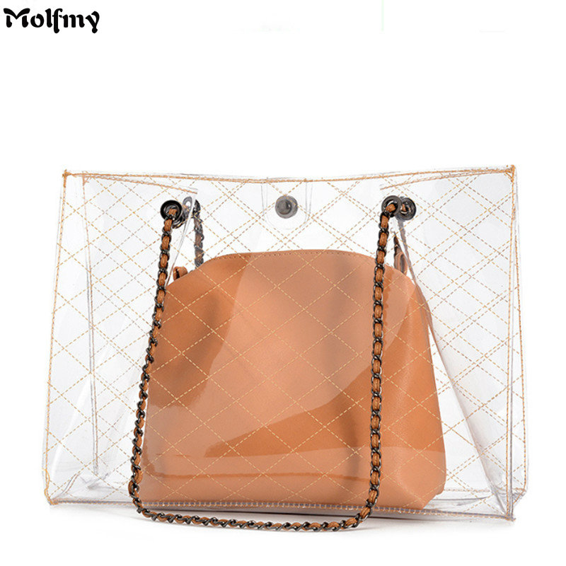 2018 Summer Transparent Trendy Composite Bag PVC clear Handbag Lady Quilted plaid Bag Fashion Women Shoulder tote toyoosky women summer crossbody bag pvc transparent composite bags set with purse waterproof quilted plaid beach handbags female