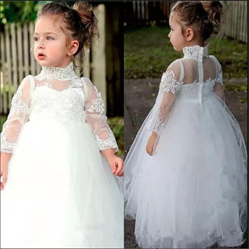 Fabulous   Flower     Girl     Dress   High Neck Long Sleeve   Girls   Pageant   Dresses   With Lace Applique for Birthday Wedding Special Party