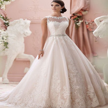 2015 Romantic Vestido de noiva Princess Appliques Wedding Dress See Through Sexy Back Bride dresses Robe de mariage casamento
