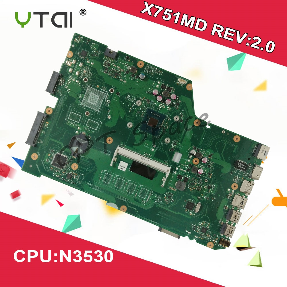 N3530 X751MA Laptop Motherboard For ASUS k751M K751MA R752M R752MA Motherboard X751MD rev2 0 Mainboard 100