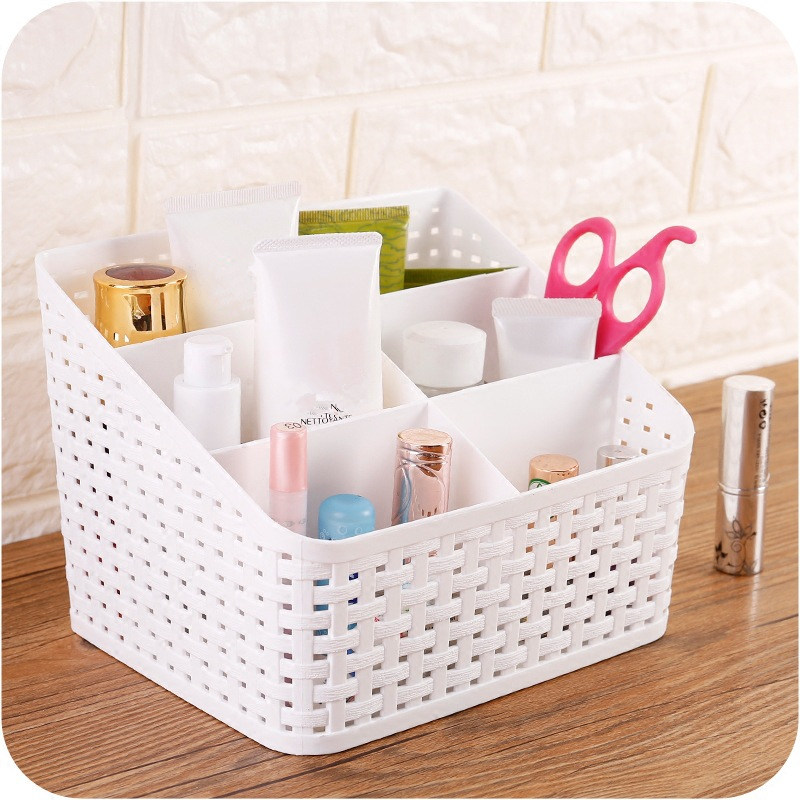 Desktop Multi-grid Storage Box Plastic Makeup Organizer Remote Control Holder Home Sundries Office Stationery Container