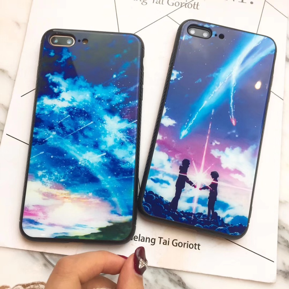 Fashion Tempered Glass Phone Case For iPhone X 6 7 8 Plus Romantic Meteor Shower Starry Sky Pattern Case For iX 6 6s 7 8 Plus