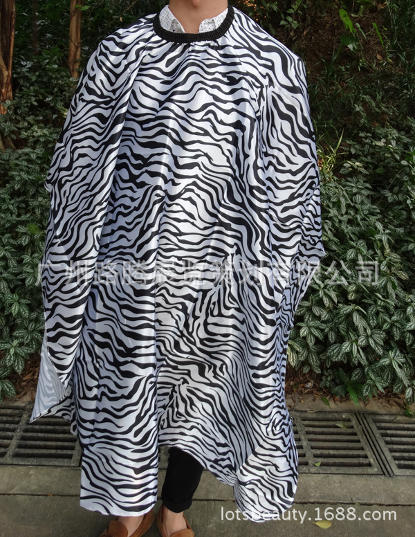 Free Shipping Zebra Printing Hair Cutting Cape, Size for Adult Salon Cape For High Class Salon Shop Barber Hair Wrap ZC06 image