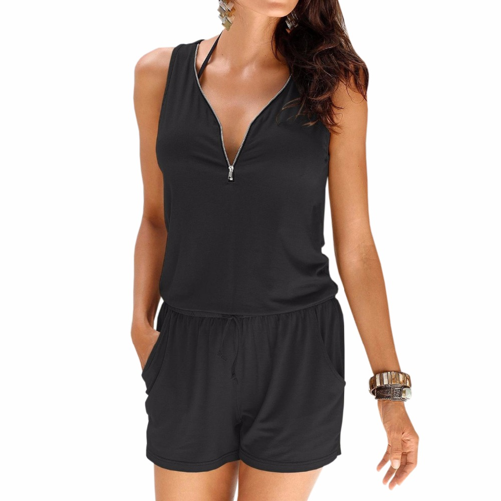 Rompers 2017 Summer Jumpsuit Fashion Women Beach Playsuit Sleeveless Sexy V Neck Front Zipper Jumpsuits Overalls Clothes LJ9031C