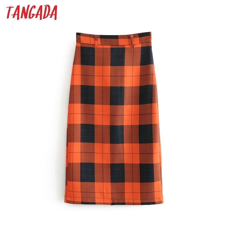 Tangada Womens Midi Skirt Plaid Sweet Fashion Vintage High Waist Pencil Skirt Office Ladies Work Korean Style Clothing 6a57