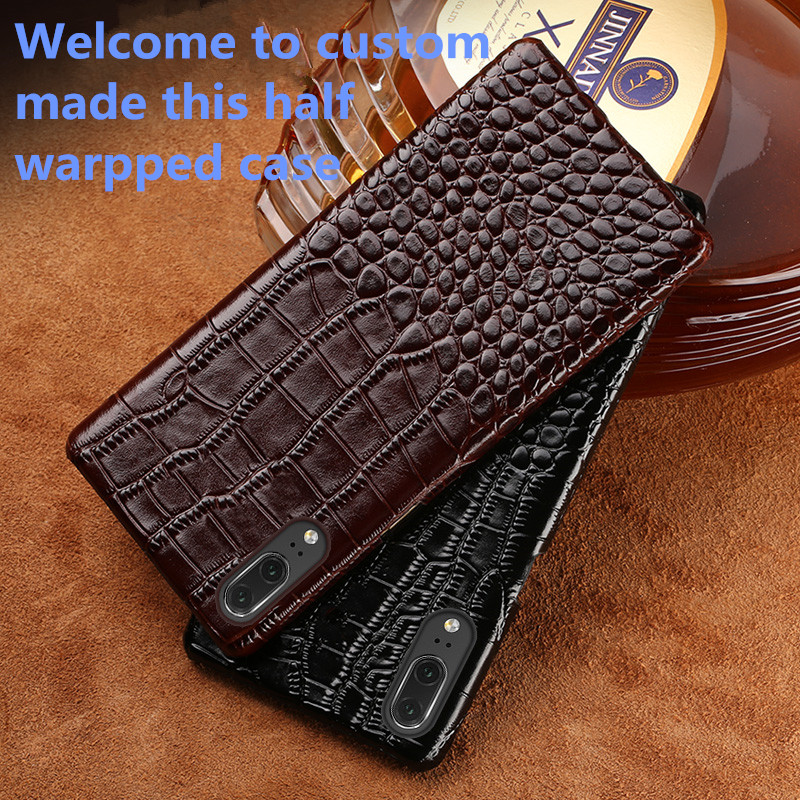 RL12 Business Style Genuine Leather Half Wrapped Case For Blackberry Key2 Phone Case For Blackberry Key
