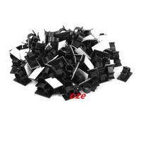 100Pcs Self Adhesive Adjustable Wire Cable Ties Clamp Sticker Clips Black 20 1mm