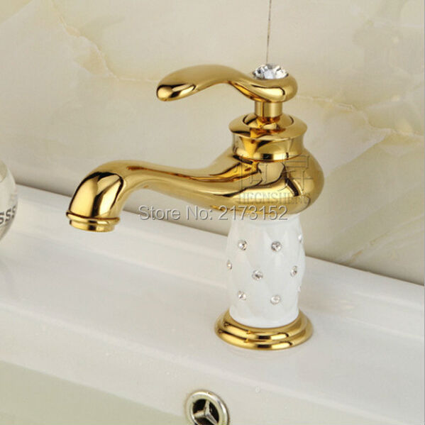 Luxury Gold Plated Bathroom Faucet White Ceramic Body Decorated With Diamond Basin Sink Mixer Tap G