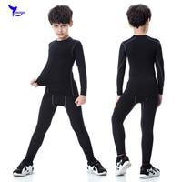 Nuevos niños elasticidad compresión camisa de manga larga niños Niños rápido seco fitness bodybuilding piel Medias Trajes ropa