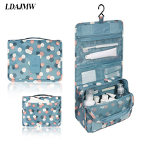 Portable Folding Print Hanging Toiletry Kit Clear Travel Storage bag Cosmetic Carry Organizer For Traveling Bathroom Gril Gift