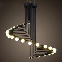 Американский промышленный Ретро Открытый Подвесные Светильники Лофт Утюг Droplight Эдисон светодиодные лампы черный спираль света E14 освещени