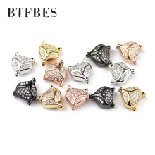 BTFBES 4pcs Two Sides Fox Pendant Material Copper Micro Pave Zircon Beads Charms Animal Head Loose Jewelry Bracelet Making