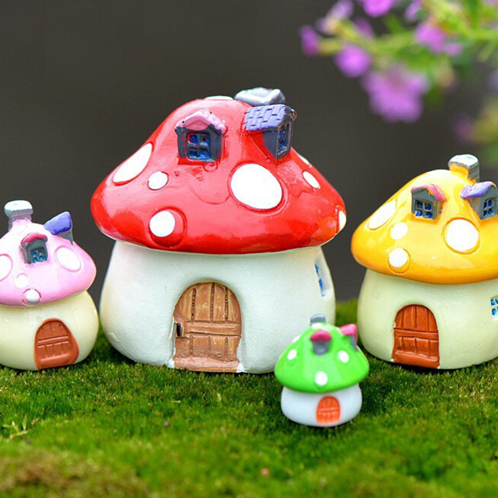 3 Sizes 4 Color Mushroom House Resin Craft Miniature Micro Gnome Terrarium Mediterranean House Castle Fairy Garden Supplies