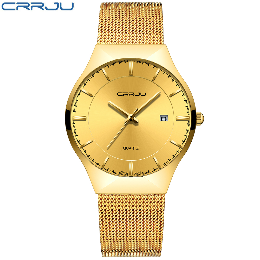 CRRJU Brand Men's Simple Stylish Business slim Analog Quartz Watch,Date Black Dial Wrist Watch with Mesh bracelet strap for Male stylish zinc alloy quartz analog wrist watch bracelet for women golden multicolored 1 x 626