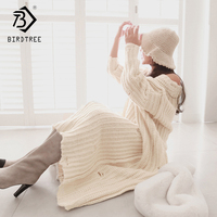 Plus Size Women's Sweater Dresses Loose V Neck Hole Thick Loose Ankle Length Full Sleeve 2018 New Arrival Free Size D88617Y