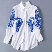 2017 Summer Autumn European Women's Long Sleeve HIGH QUALITY Runway Embroidery Shirts Loose Casual Chiffon Blouse Plus Size XXXL