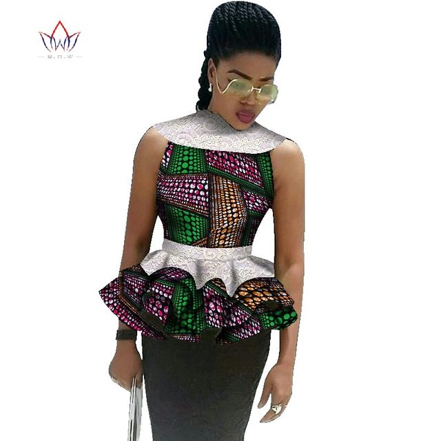 Mujer Moda Ankara Casual con BintaRealWax verano impresa camisa 2017 Africana ropa Batik African encaje Tops p0qU71