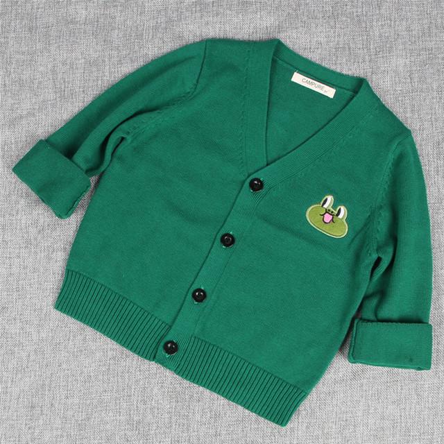 Com decote em v cardigan menino bebê meninos de manga longa blusas brasão dos desenhos animados patchwork animal boy tops casaco cardigan malhas para 12 M-5 T