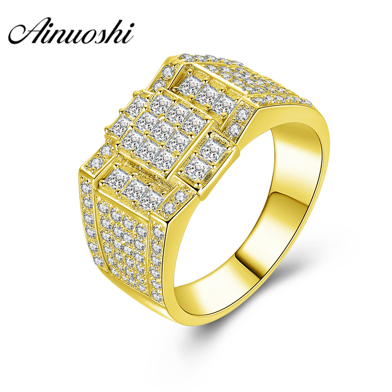 AINUOSHI 14K Solid Yellow Gold Men Ring Shinning CZ Cluster Ring Male Wedding Engagement Gold Jewelry Wide Wedding Male BandAINUOSHI 14K Solid Yellow Gold Men Ring Shinning CZ Cluster Ring Male Wedding Engagement Gold Jewelry Wide Wedding Male Band