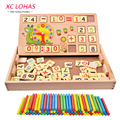 Multifunctional Montessori Building Blocks Addition Subtraction Math Toys Wooden Black Board Drawing Toys Children Toys