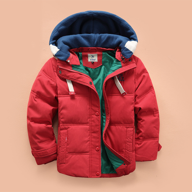 купить 2017 New children Down & Parkas 4-10T winter kids outerwear boys casual warm hooded jacket for boys solid boys warm coats дешево