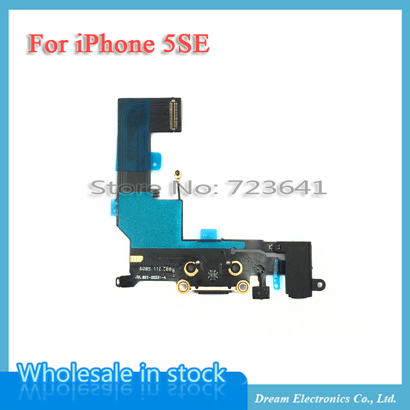 imágenes para 5 unids/lote Blanco Negro para el iphone SÍ 5SE Muelle Del Cargador USB Puerto de carga Conector Flex Cable con conector de Auriculares Versión Libre gratis